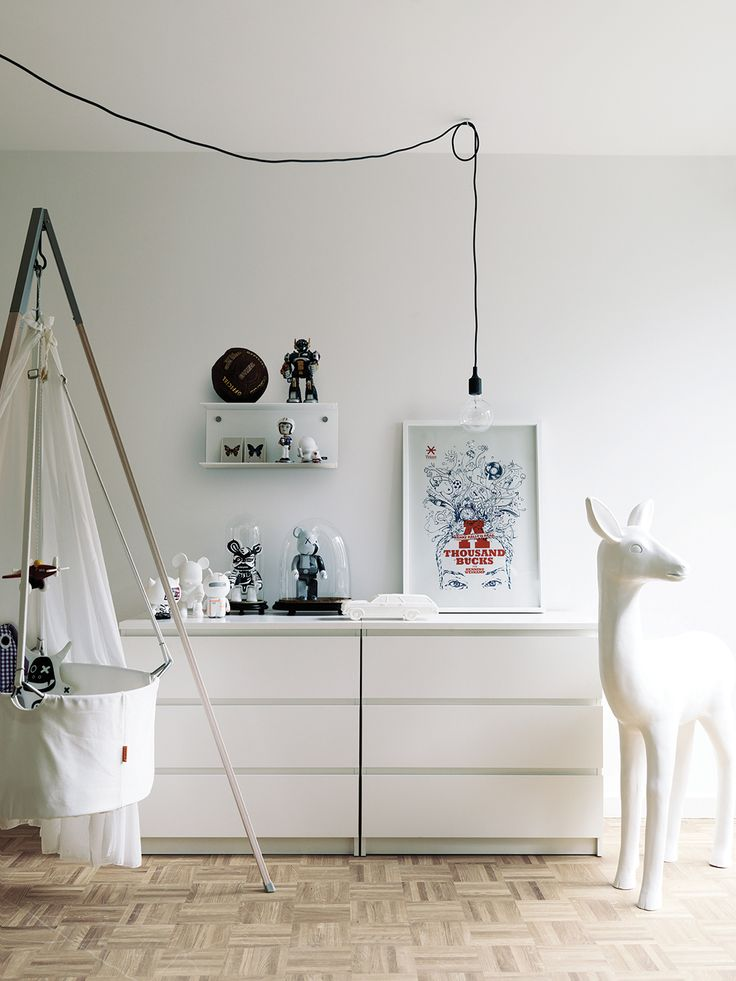 a contemporary or minimalist nursery can fit an IKEA Malm dresser as a storage piece and changing table