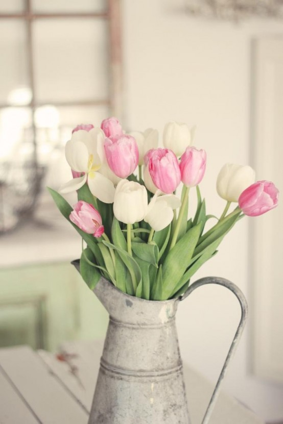 a metal galvanized jug with white and pink tulips is a nice decoration for spring, it's bold and cool