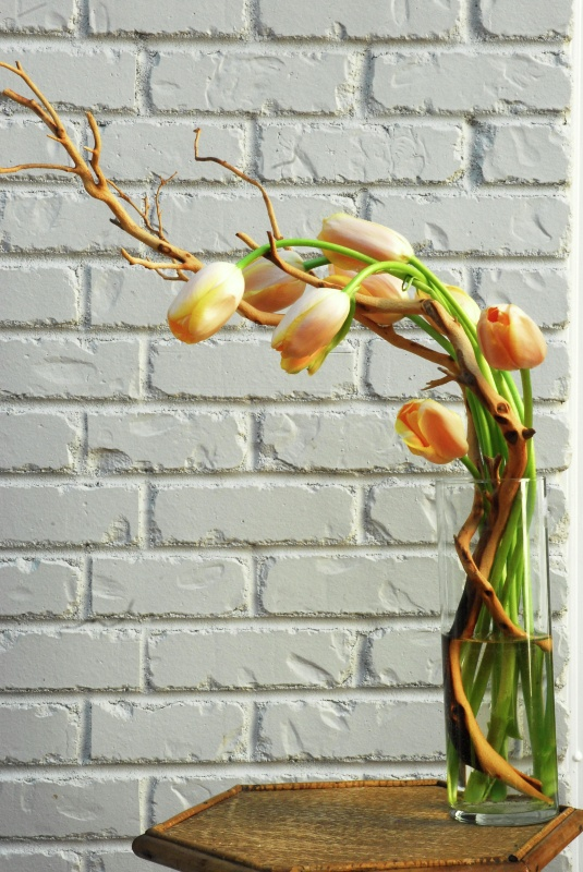 a clear glass vase with orange tulips and vining branches is a bold spring decoration or centerpiece with an unusual ikebana-inspired shape