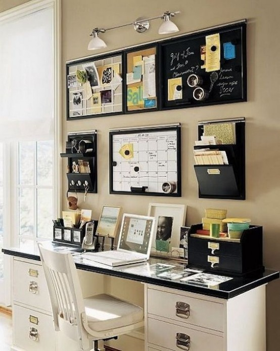 wall-mounted holders and mini shelves plus memo boards are a nice storage idea for a small office