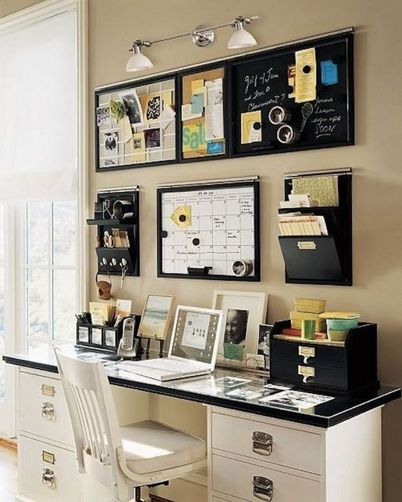 wall mounted holders and mini shelves plus memo boards are a nice storage idea for a small office
