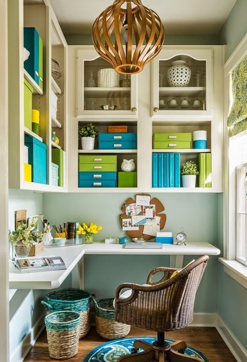 large wall mounted cabinets over the desk is a comfortable idea to store everything you want right at hand, this is real floor space saving