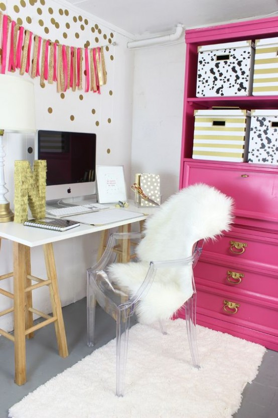 a pink bookcase with open shelves and drawers will give you enough storage space for all the stuff that you have