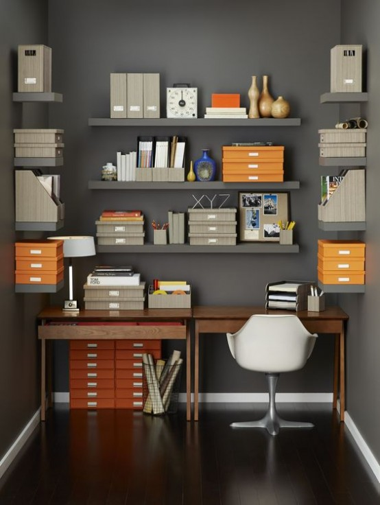 how to organize your home office 32 smart ideas digsdigs. Black Bedroom Furniture Sets. Home Design Ideas