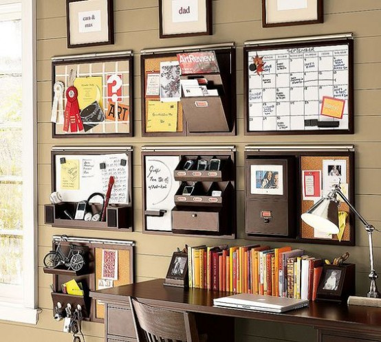 wall-mounted storage units with various holders, shelves and other storage items is perfect for a small office