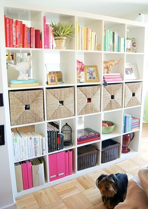 an IKEA Expedit shelving unit finished with some drawers is a perfect idea for storing various stuff