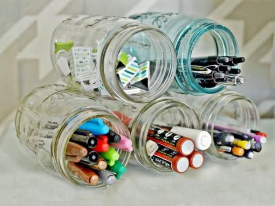 a stack of glasses can be sucured and you mya use it for organizing pens, pencils and markers