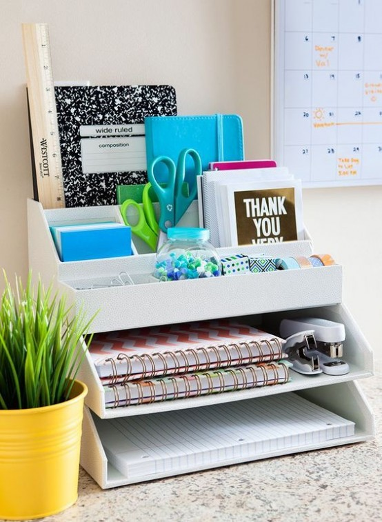 a simple office organizer that is placed right on your desk is a timeless idea to give your desk a more accurate look