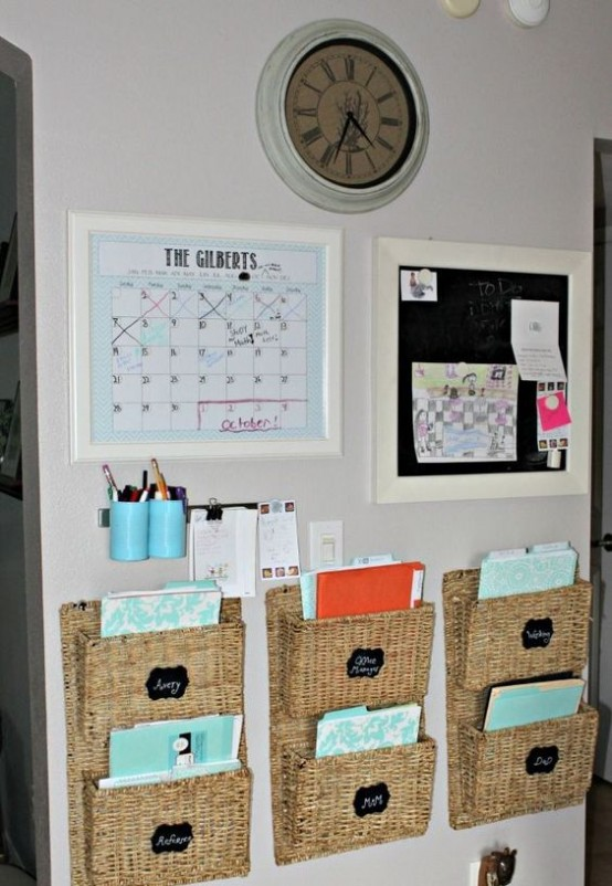 mini baskets attached to the wall may be used to store files, documents and other stuff you want