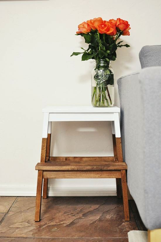 Toned and dipped in white IKEA Bakvam by a sofa