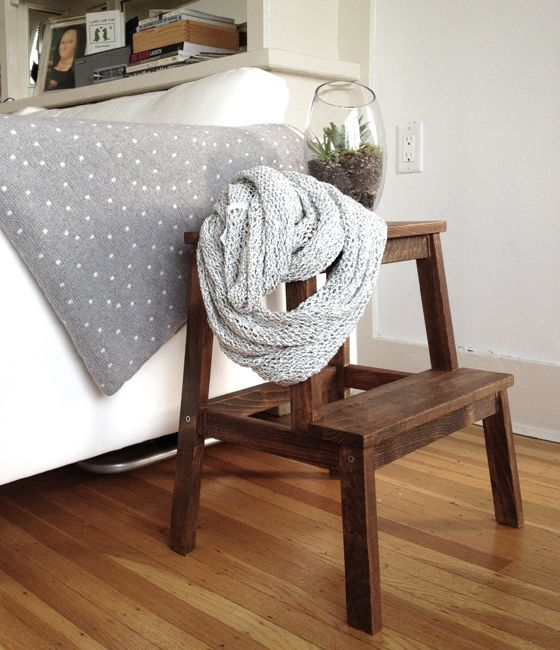 Stained IKEA Bekvam stool by a bed