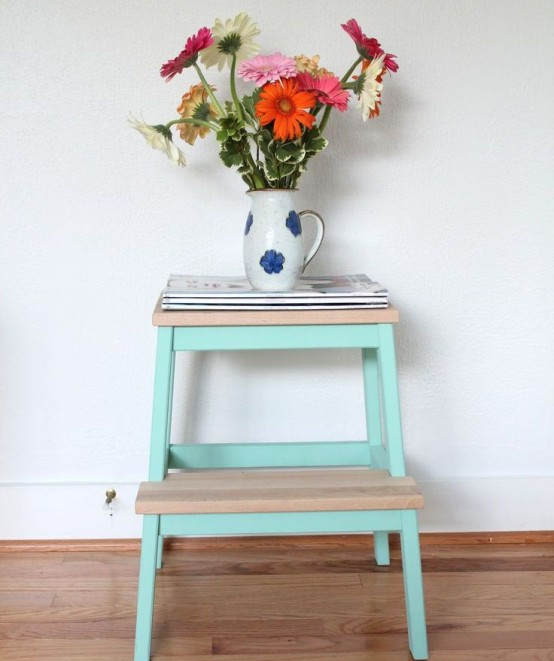 Interestingly painted IKEA Bekvam as a side table