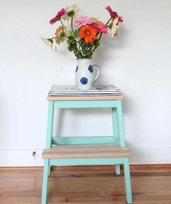 Interestingly painted IKEA Bekvam as a side table