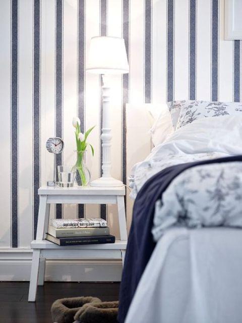 All-white IKEA Bekvam as a bedside table