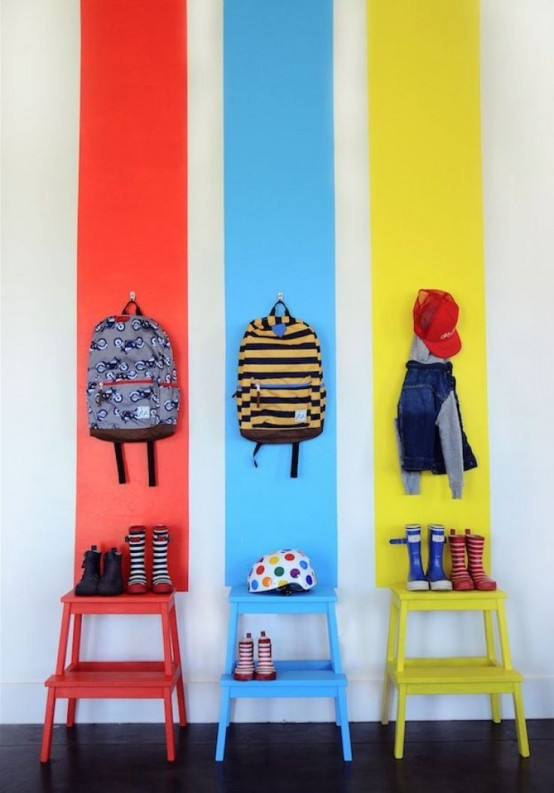 Colorful Ikea Bekvam Stool for several kids