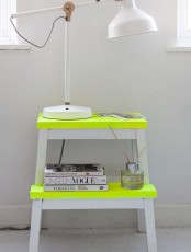 Neon colored IKEA Bekvam stool as a lamp stand