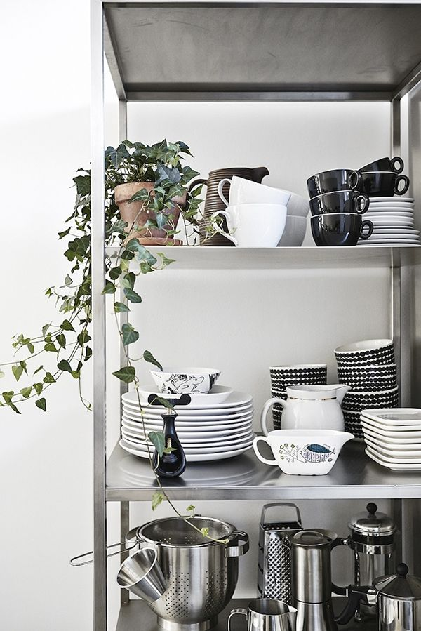an IKEA Hyllis shelf is great to store any cups, plates and bowls and other kitchen stuff