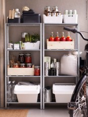 IKEA Hyllis shelves used with plastic and wooden boxes, veggies and herbs, bottles, packages