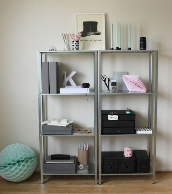 IKEA Hyllis shelves with boxes, files, candles and other home office stuff you need