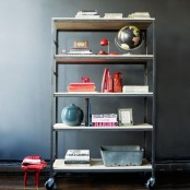 an IKEA Hyllis shelf hack on casters is a cool idea to store all the stuff you need and it's very mobile