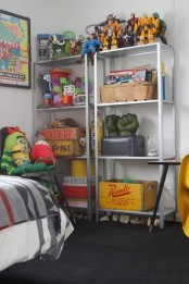 IKEA Hyllis shelves used for kids' room's storage – for toys and crates with them