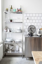 an IKEA Hyllis shelf with glasses, cups, plates and appliances is a cool idea to rock at home