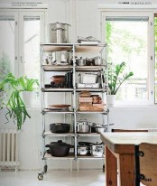 a mobile Hyllis shelf by IKEA is a cool storage unit for any kitchen stuff you may need