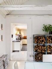 IKEA Hyllis shelves used as firewood storage are a genius idea