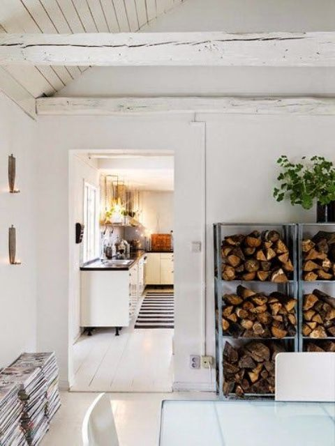 IKEA Hyllis shelves used as firewood storage are a genius idea