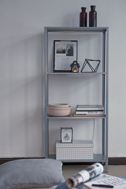 an IKEA Hyllis shelf is ideal to place it anywhere you want and store everything you need