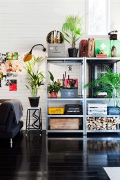 Hyllis shelves by IKEA are ideal to store books, firewood, potted plants and some other stuff in your living room