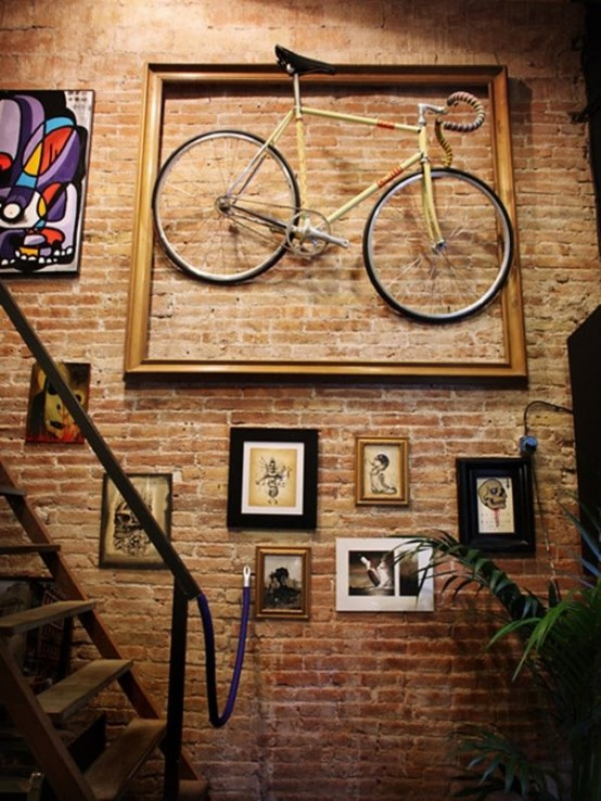Stunning Bike Storage Ideas Artistic Interior Exposed Brick Wall