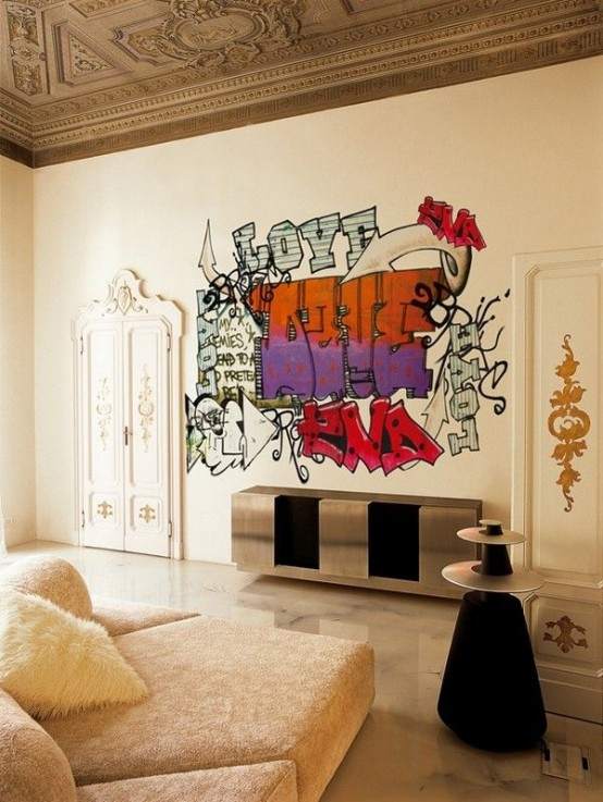 Room Design For Teenager: 26 Daring Graffiti Statement Interior Wall Ideas
