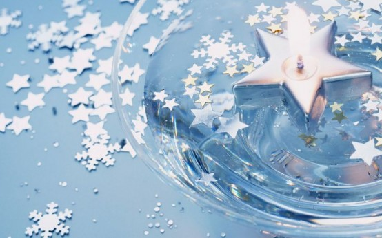 Floating Candle With Silver Stars And Snowflake Confetti