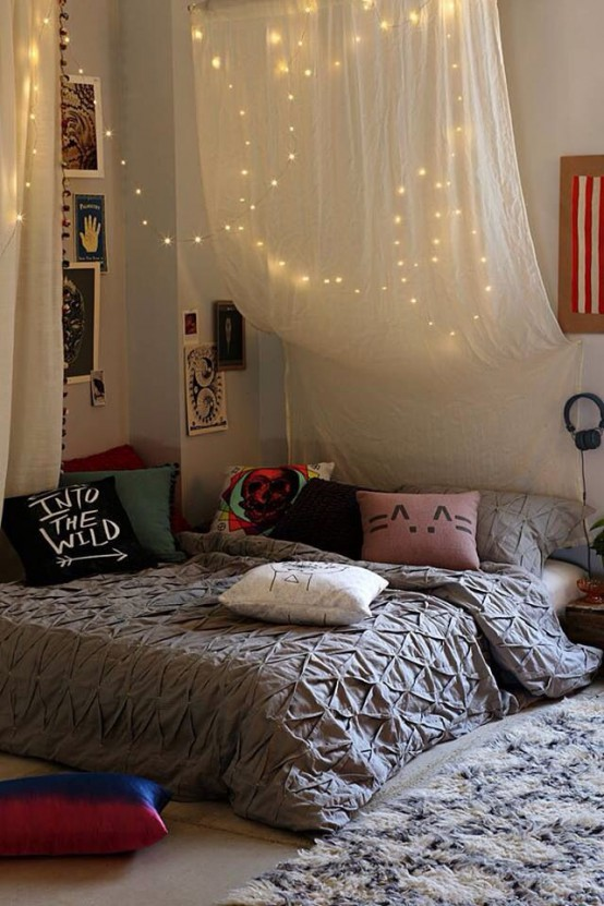 Curtains Ideas string curtains : Teen Bedroom String Lights