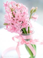 a lovely sheer vase with a pink bow and pink hyacinths is a romantic and pretty decoration for spring