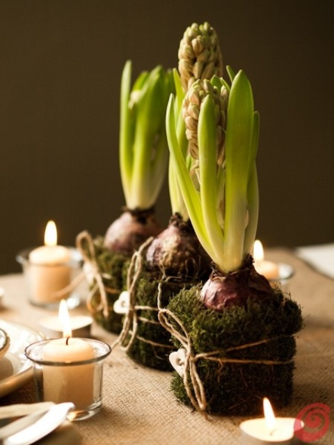 moss balls with hyacinths, twine and little wooden hearts plus candles around for a rustic and relaxed spring centerpiece