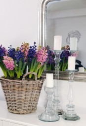 a basket with colorful hyacinths and some moss is a fantastic rustic spring decoration that bursts with color