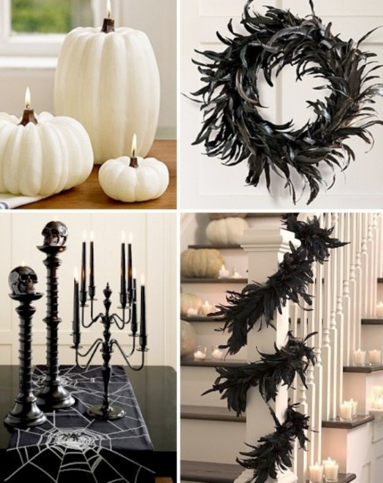 70 ideas for elegant black and white halloween decor - Faire des decorations d halloween ...