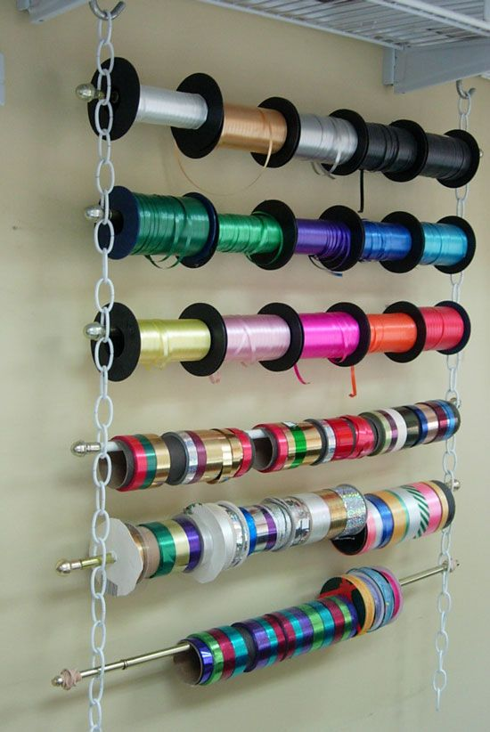 a hanging storage unit with rollers for maskign tape and wrapping paper