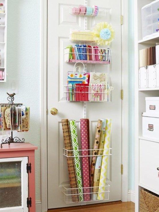wire baskets attached to the door will save much floor and drawer space
