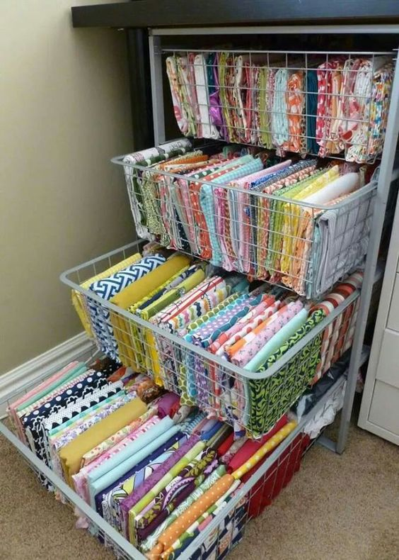 a storage unit with pulling drawers is great for storing fabrics of various kinds