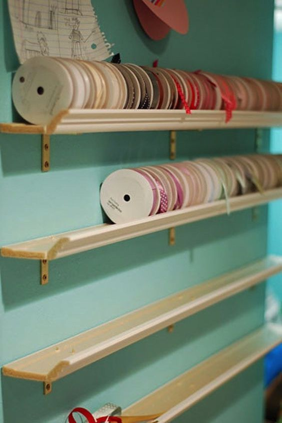 ledges with colorful tape will help you organize everything easily without takign much space