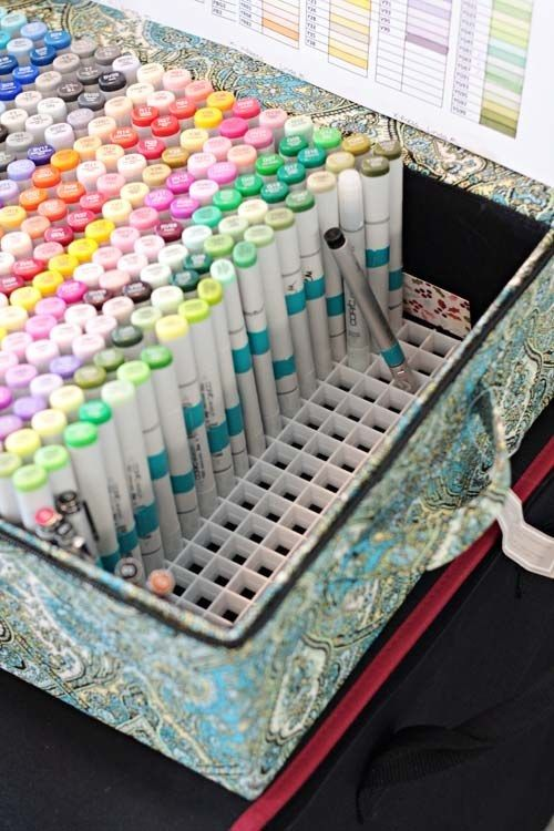 a box with comfy pen and pencil storage will save you much space and will help you organize them all