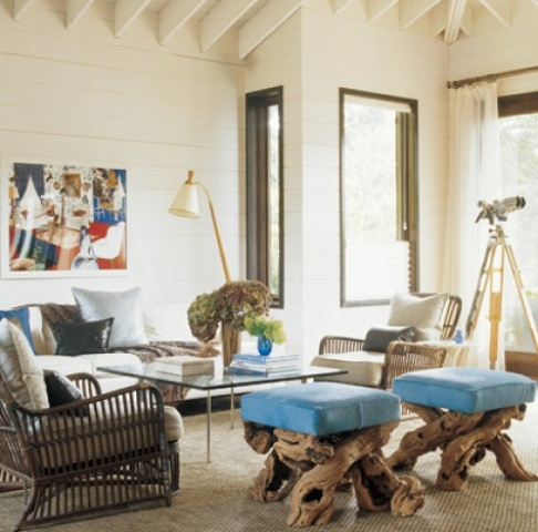 colorful stools with blue upholstery and driftwood bases for a coastal living room