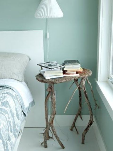 a driftwood nightstand for a beach or coastal bedroom