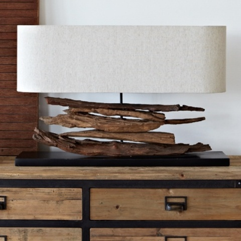 a stylish beachy driftwood lamp with a neutral lampshade
