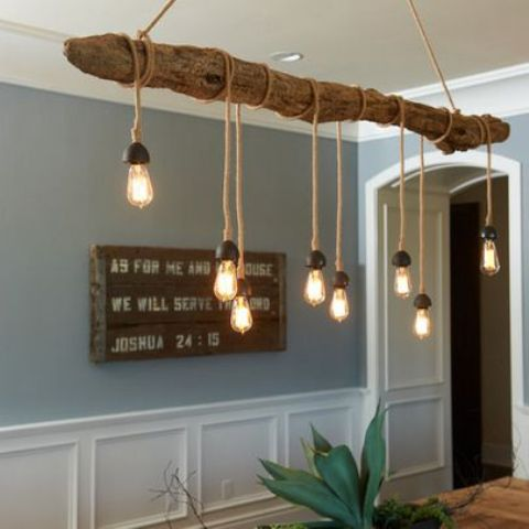 52 ideas to use driftwood in home d cor digsdigs for Suspension trois lampes