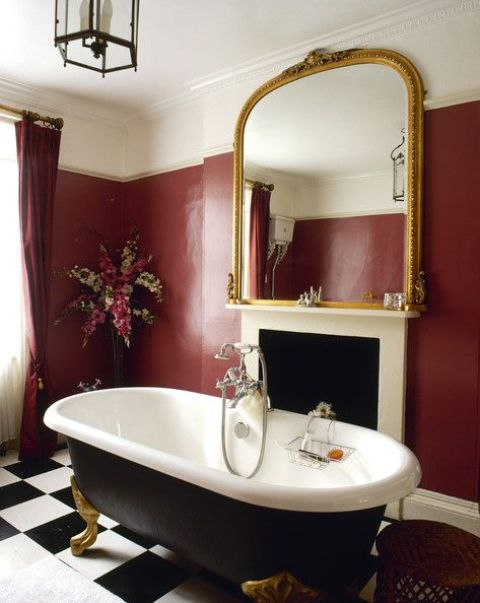 22 Ideas To Use Marsala For Bathroom Décor - DigsDigs