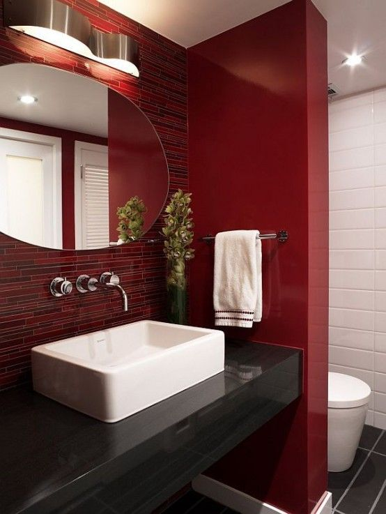 Red And Black Bathroom Design Ideas ~ Ideas to use marsala for bathroom décor digsdigs